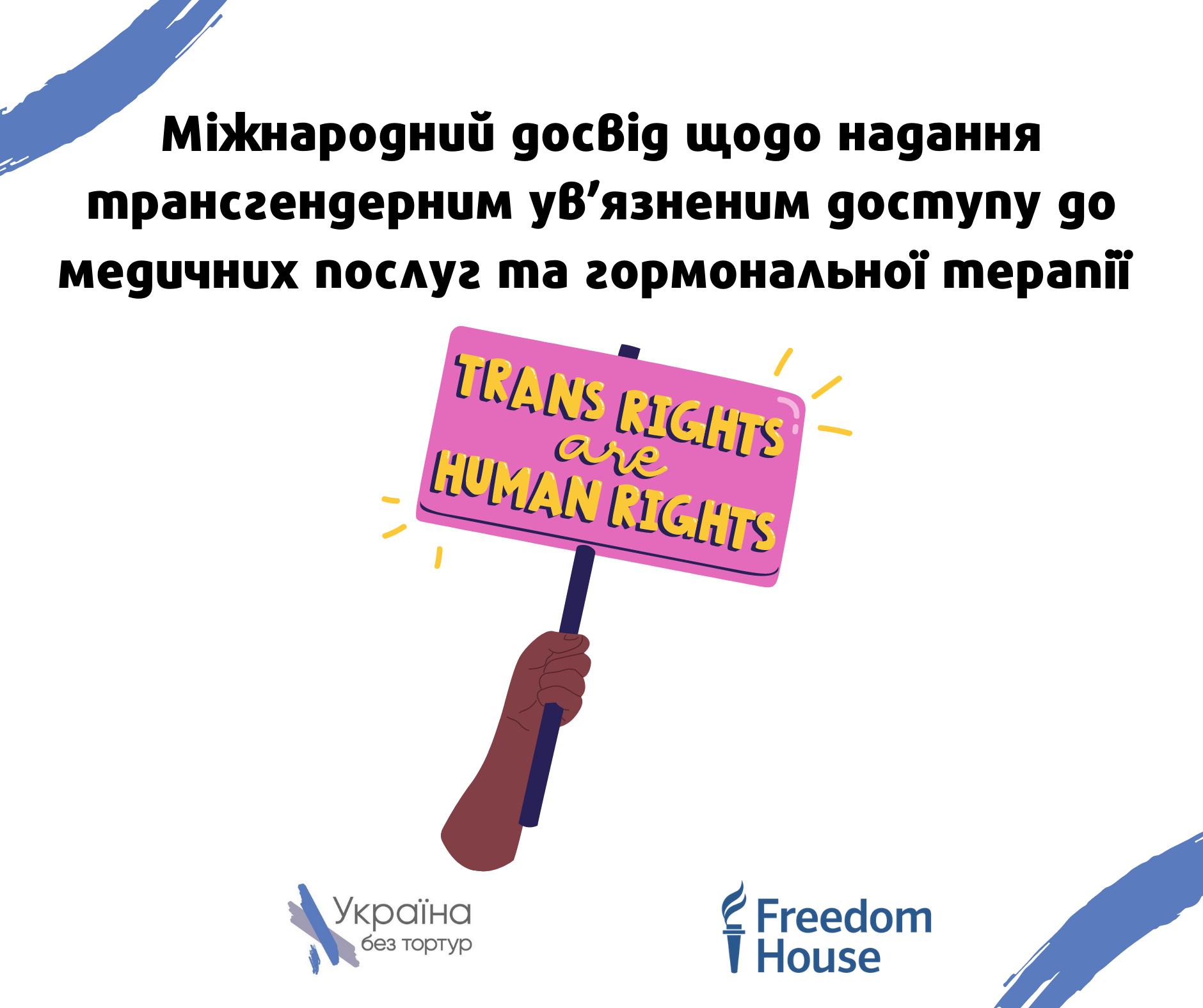 Міжнародний досвід щодо надання трансгендерним ув'язненим доступу до медичних послуг та гормональної терапії